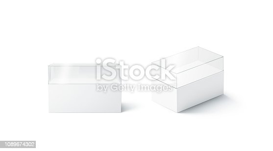 istock Blank white glass installation showcase mockup, front and side view 1089674302