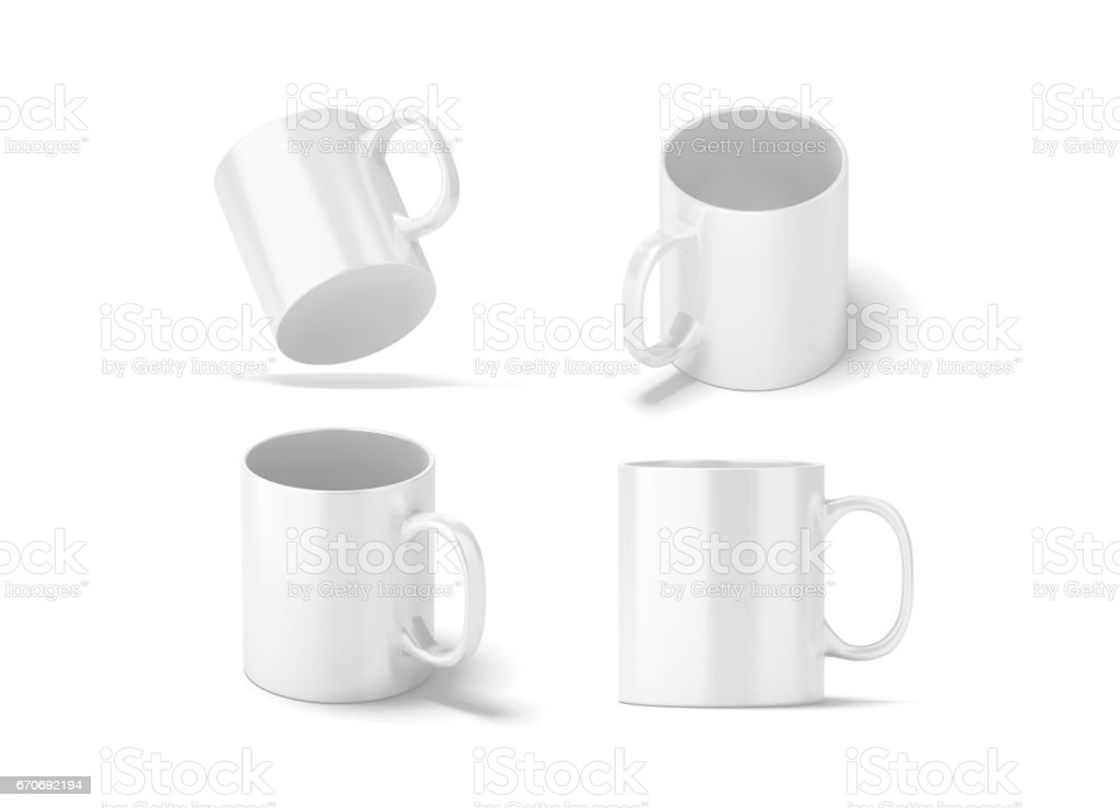 Blank white glass mug mockups set isolated, 3d rendering stock photo