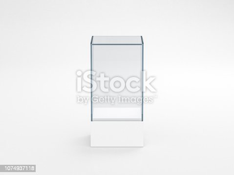 istock Blank white glass showcase box mockup, isolated on gray 1074937118