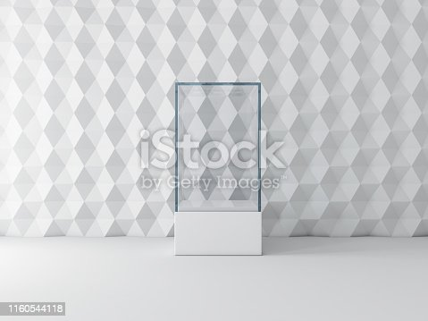 istock Blank white glass showcase box mockup, isolated on gray 1160544118