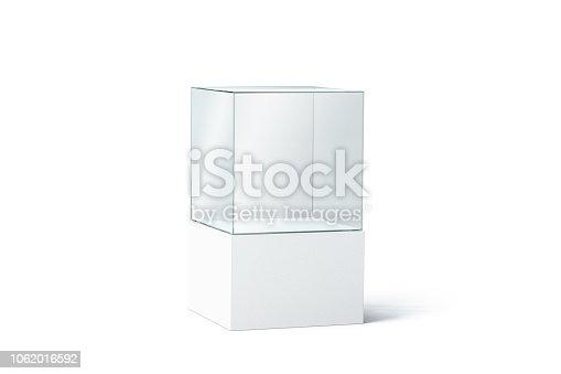istock Blank white glass showcase mock up, isolated 1062016592