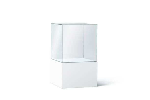 blank white glass showcase mock up, isolated - cube shape stock pictures, royalty-free photos & images