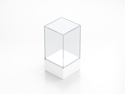 istock Blank white glass showcase mockup, clear transparent exhibition box template 1074937124