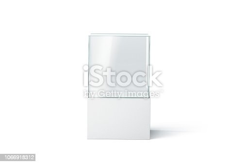 Blank white glass showcase mockup, isolated, front view, 3d rendering. Empty presentation podium mock up. Clear transparent exhibition box template. Glass vitrine for boutique or gallery.