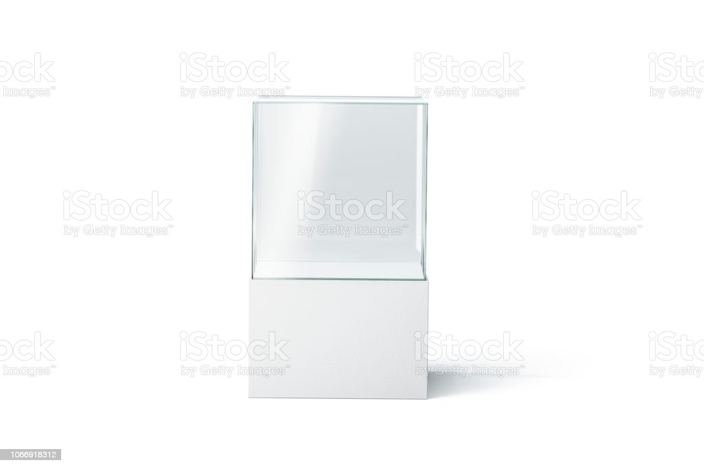 Blank white glass showcase mockup, isolated, front view stock photo