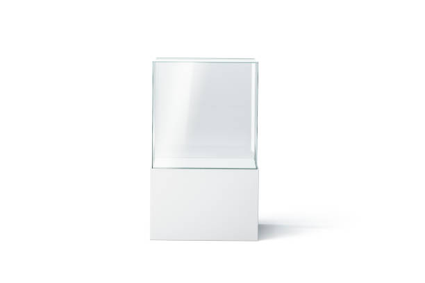 blank white glass showcase mockup, isolated, front view - cube shape stock pictures, royalty-free photos & images