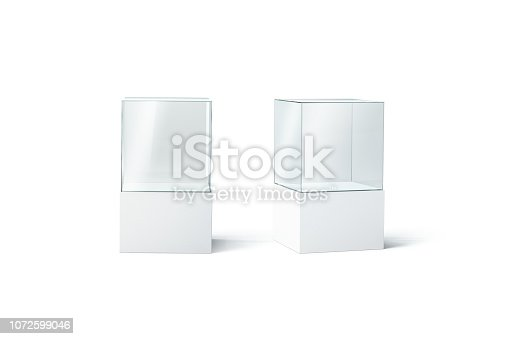 istock Blank white glass showcase mockup set, front and side view 1072599046