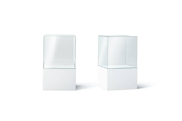 blank white glass showcase mockup set, front and side view - cube shape stock pictures, royalty-free photos & images
