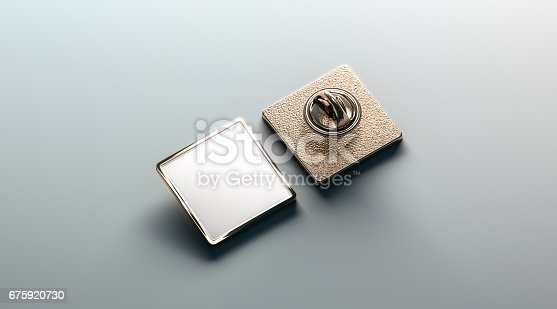 istock Blank white gold lapel badge mock up, front and back side view 675920730