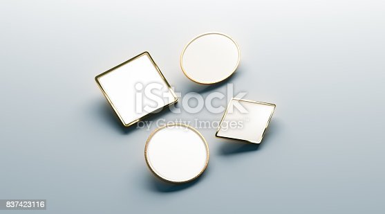 istock Blank white gold lapel badge mock ups set 837423116