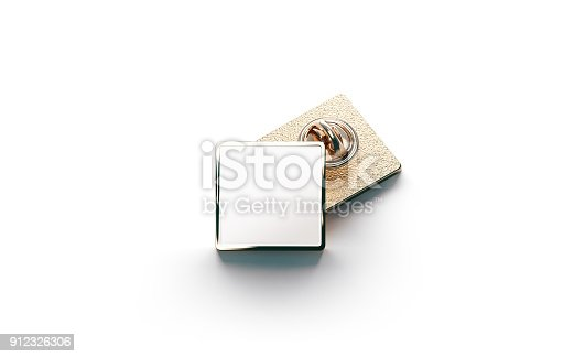 istock Blank white gold lapel badge mock ups stack 912326306
