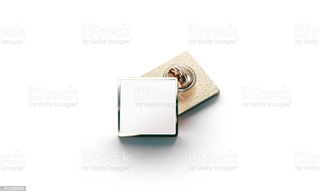 Blank white gold lapel badge mock ups stack stock photo