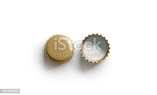 istock Blank white golden beer lid mockup, top view, front and back side 944385392