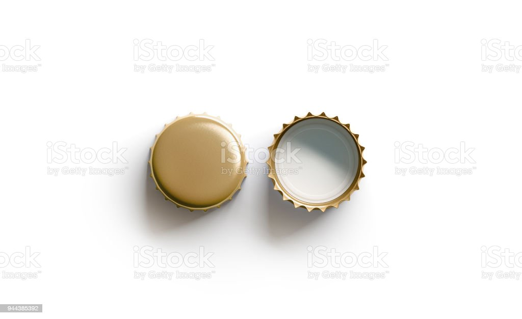 Blank white golden beer lid mockup, top view, front and back side stock photo