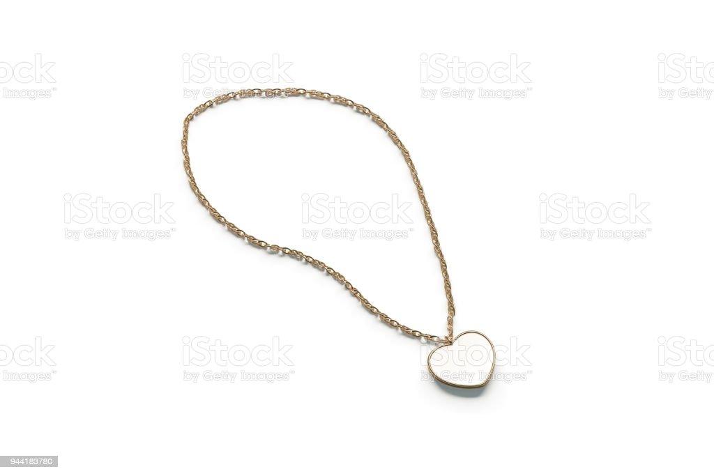 Blank white golden pendant heart mockup isolated stock photo
