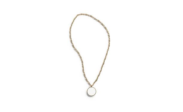 blank white golden pendant round mockup top view isolated - ожерелье стоковые фото и изображения