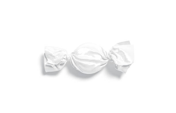 Blank white hadn candy foil wrapper mock up, top view stock photo
