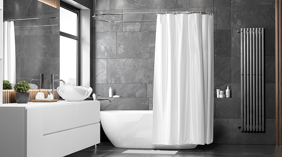 Blank white half open shower curtain mockup, front view, 3d rendering. Empty shade cover for curai in bathroom mock up. Clear indoor apartment with waterproof slip screen template.