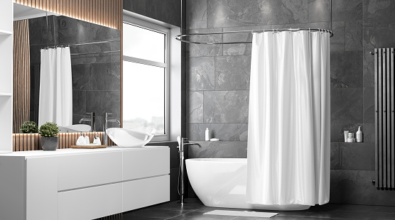 Blank white half open shower curtain mockup, half-turned view, 3d rendering. Empty polyester blind for bathroom hygiene mock up. Clear restroom interior with waterproof curtai template.