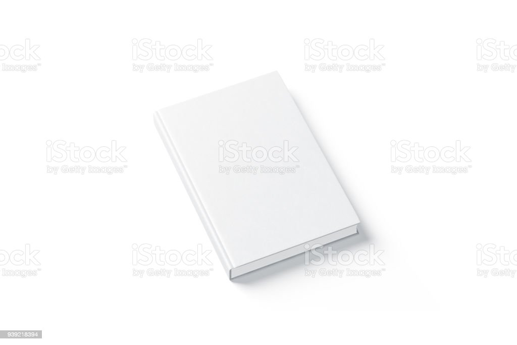 Livre blanc couverture rigide blanc simulé vers le haut, vue de dessus du côté - Photo