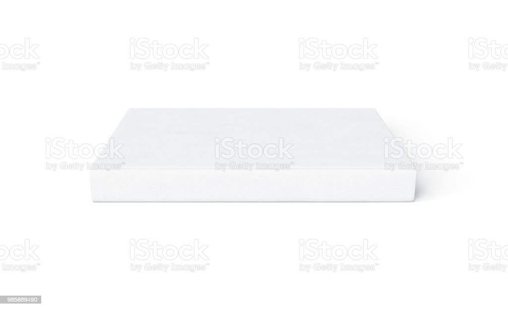 Blank white hard cover book spine mock up lying isolated stock photo