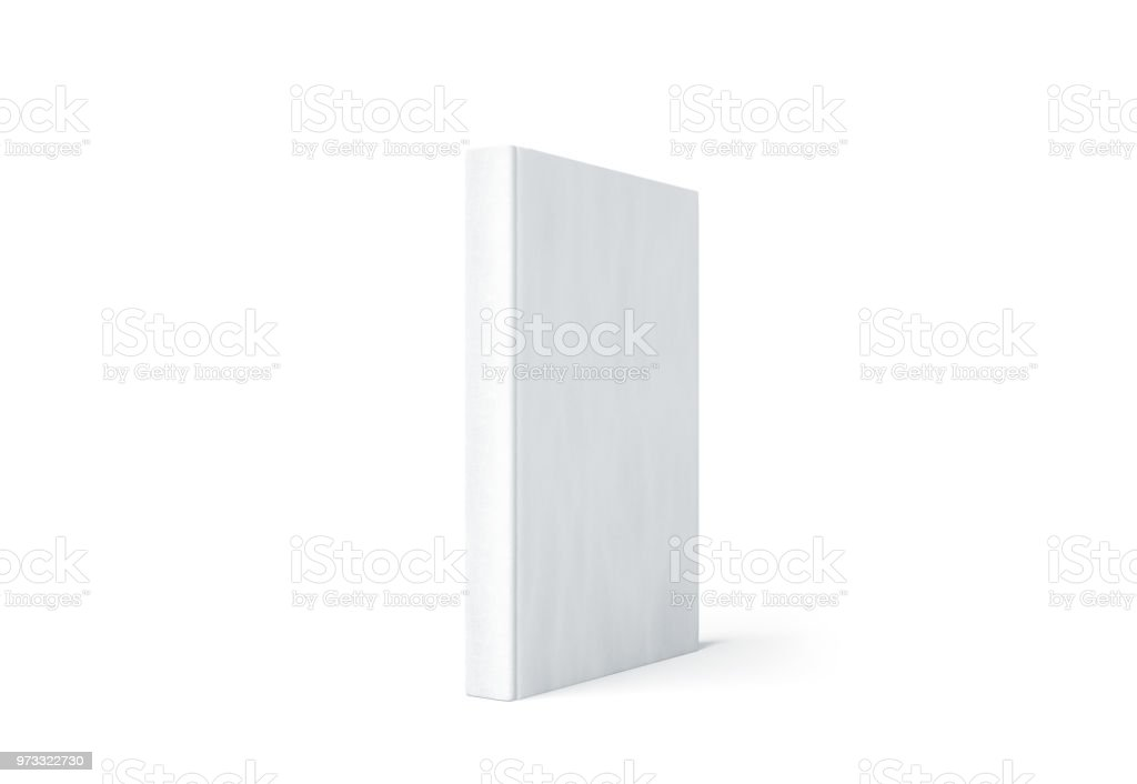 Blank white hard cover book spine mock up stand isolated stock photo