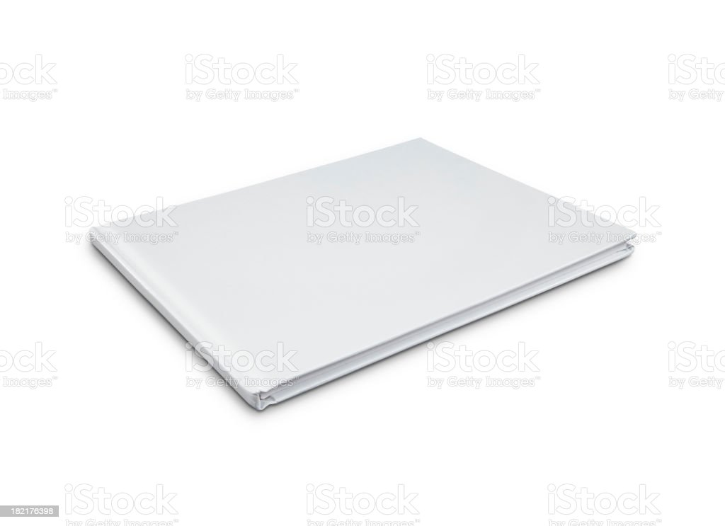 A blank, white hardcover book on a white background stock photo