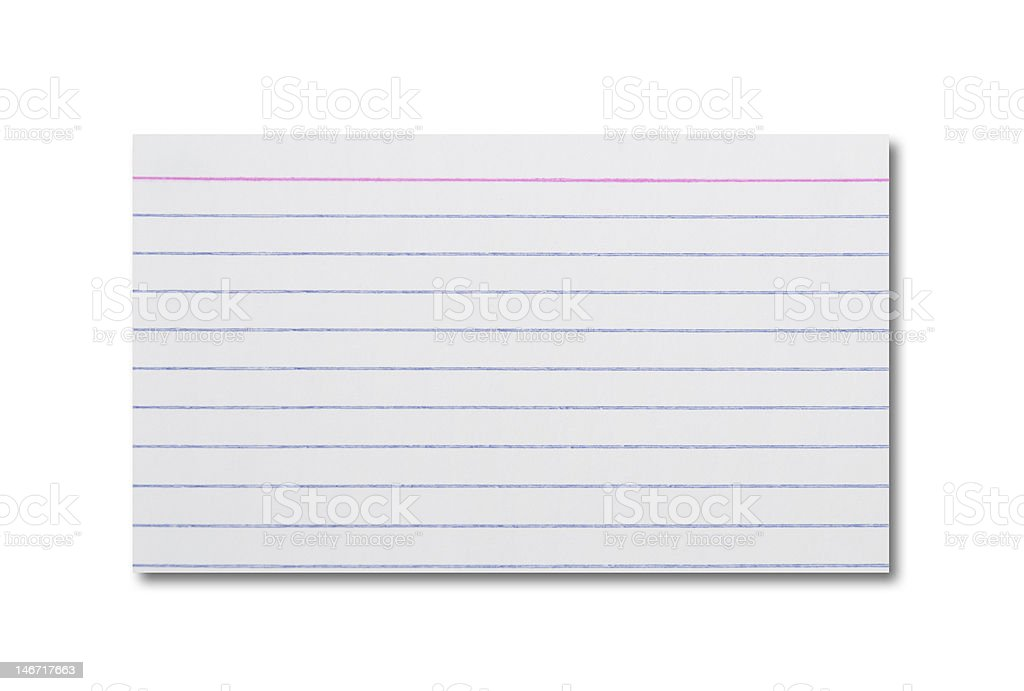Blank White Index Card (Isolated) royalty-free stock photo