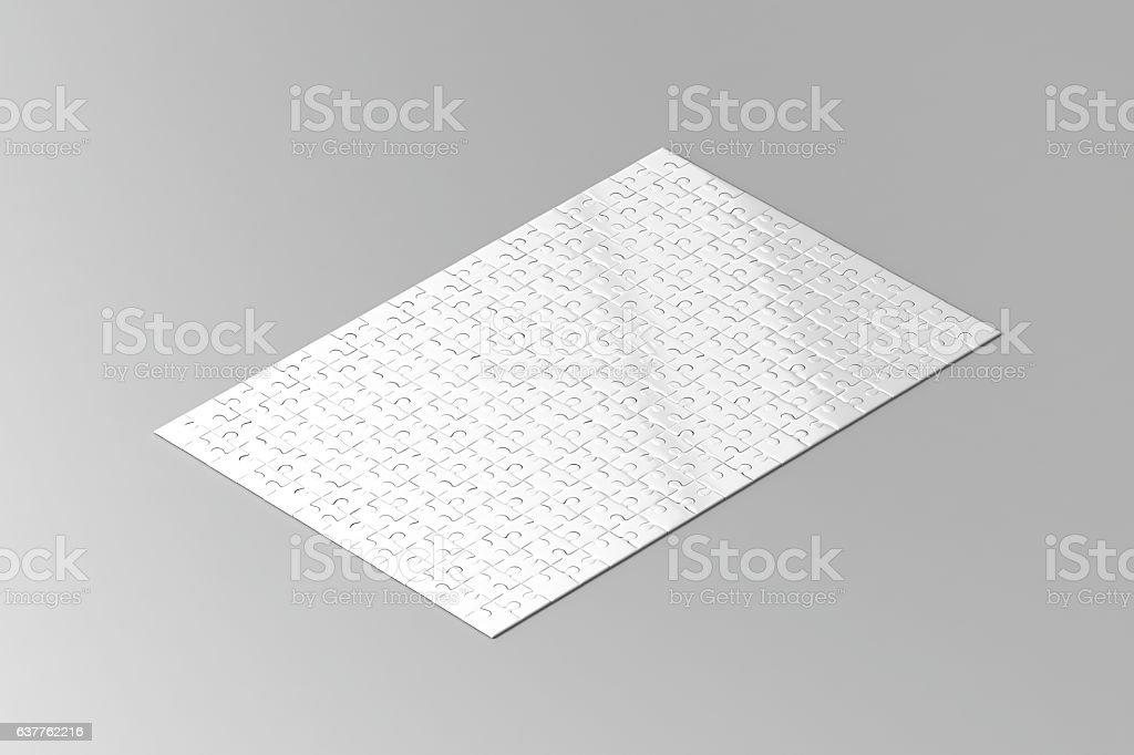 Blank white jigsaw puzzle game mockup, isometric view stock photo
