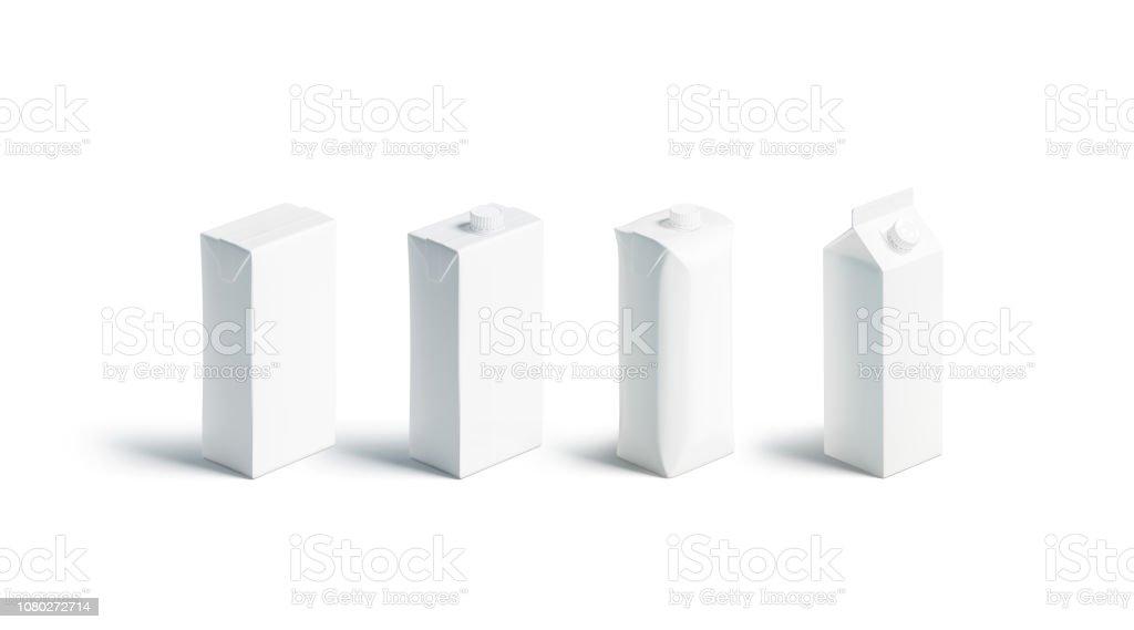 Suco de branco em branco ou leite pack maquete conjunto, diferentes tipos - foto de acervo