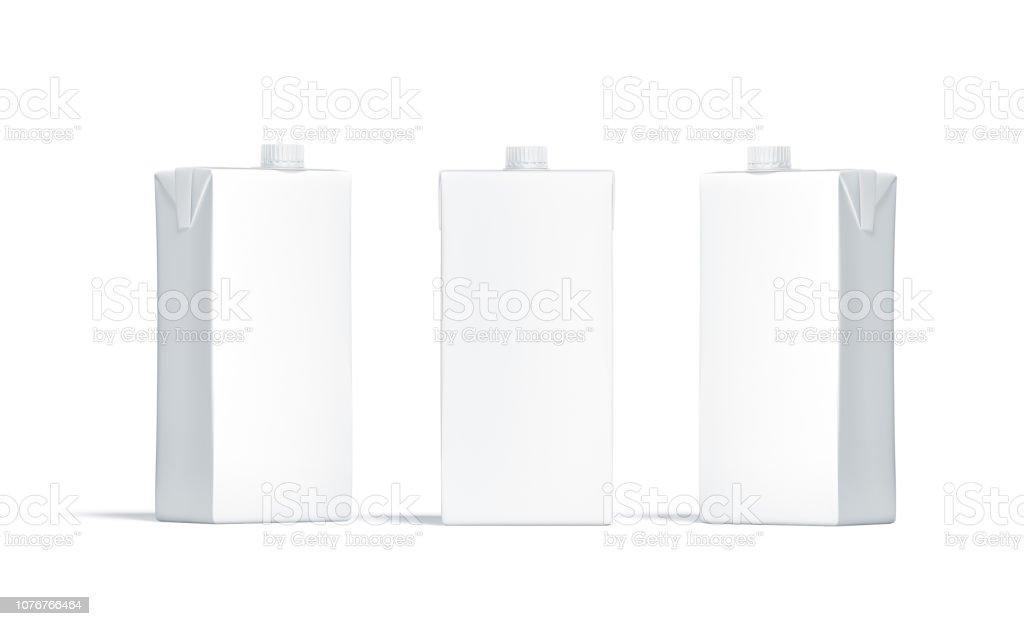 Bloco do suco branco em branco com tampa maquete conjunto - foto de acervo