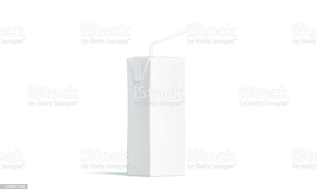 Bloco do suco branco em branco com palha maquete, vista lateral - foto de acervo