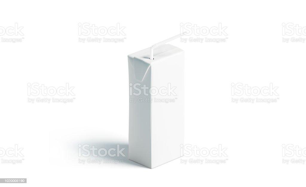 Bloco do suco branco em branco com palha maquete, carrinho isolado - foto de acervo