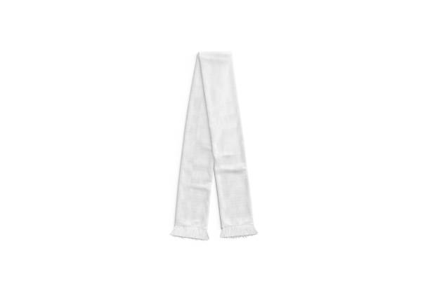 Blank white knitted soccer scarf mock up, top view stock photo