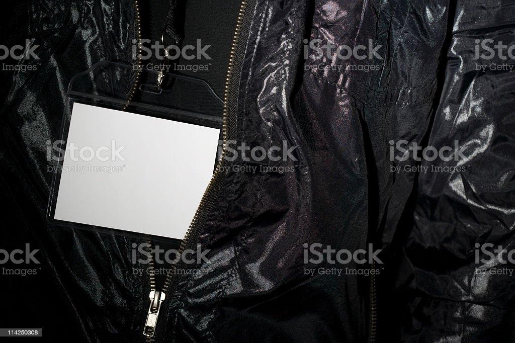 Blank white label inside plastic wallet on lanyard stock photo