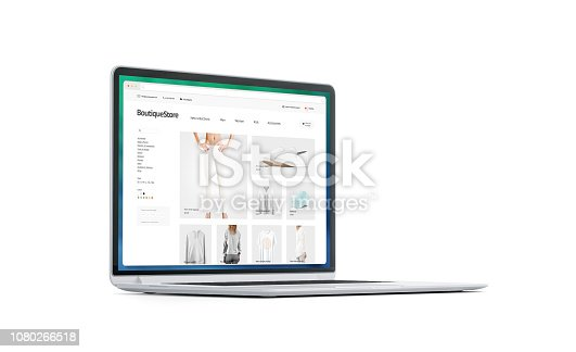 Blank white laptop screen with fashion store mockup, isolated, 3d rendering. Empty monitor with browser webpage mock up, side view. Clothing boutique interface in display template.