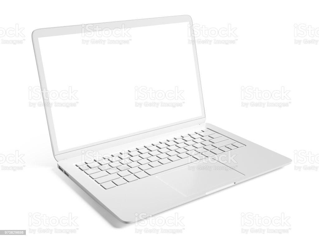 a95e5fa0965 Leere weiße Laptop mit textfreiraum isoliert auf weißem Hintergrund  Lizenzfreies stock-foto