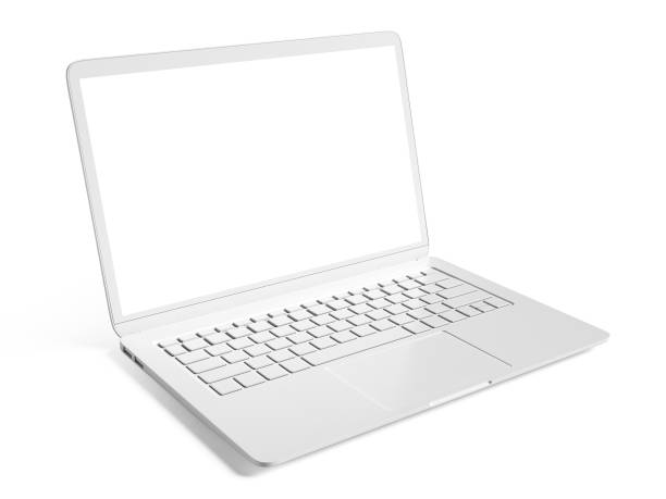 Blank white laptop with copy space isolated on white background stock photo