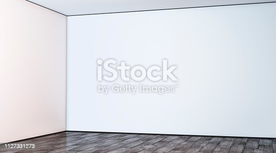 istock Blank white large gallery wall corner in hall mockup 1127331273