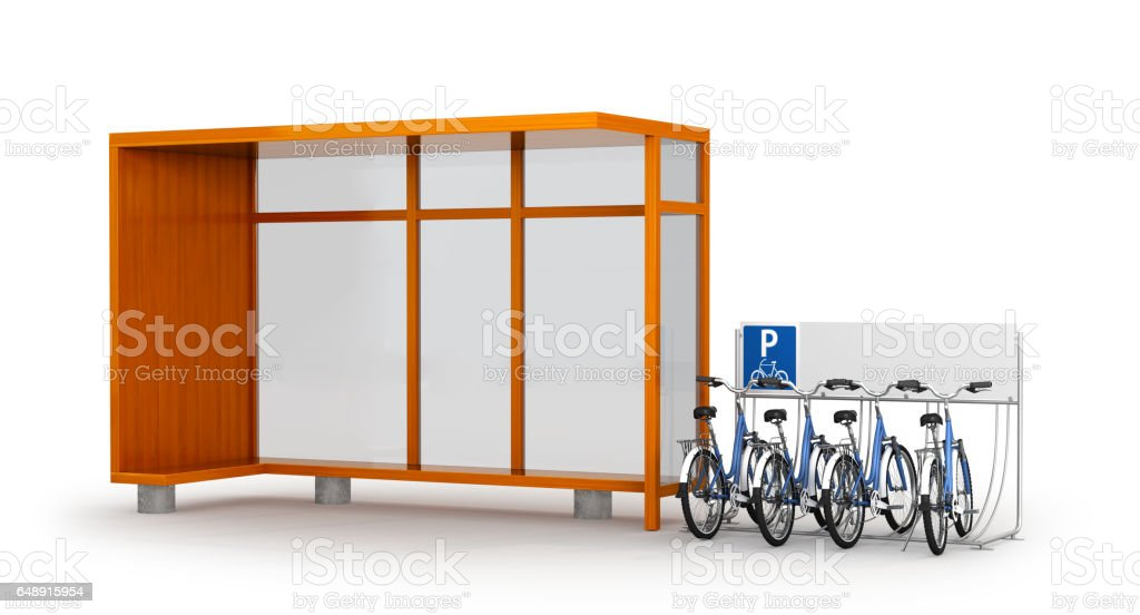 Blank white layout at the bus stop. Bicycle Parking near the bus stop. 3D illustration stock photo