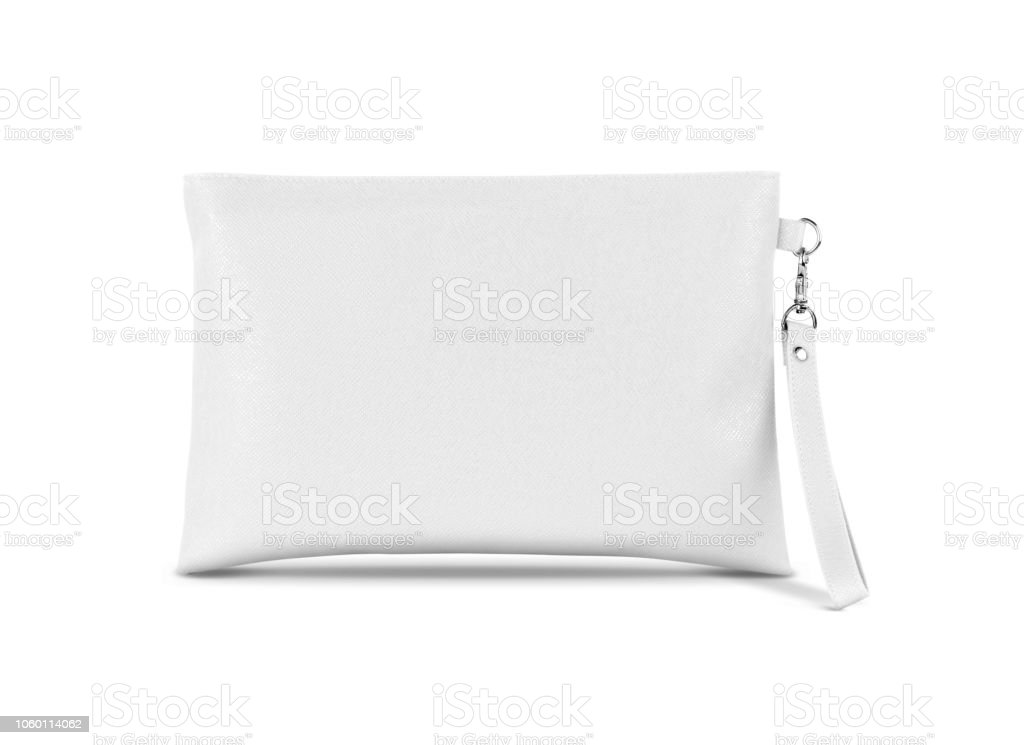 Blank White Leather Premium Handle Bag With Hanging Isolated On