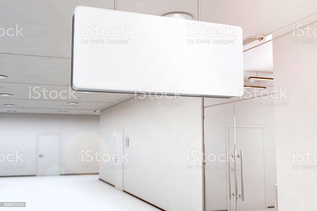 Blank white light box mockup hanging on ceiling, 3d rendering stock photo
