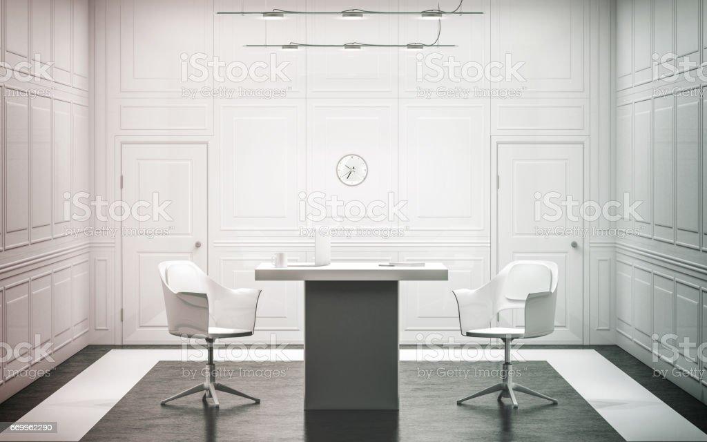 Blank white luxury office interior design stock photo