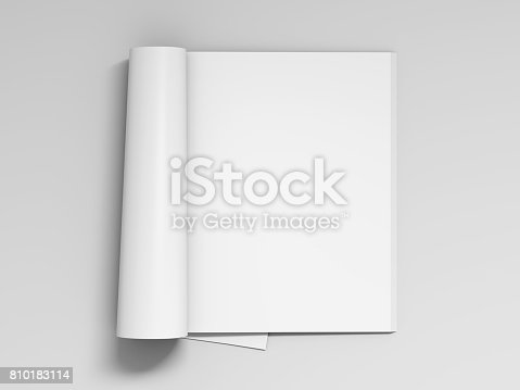 istock Blank white magazine pages isolated 810183114