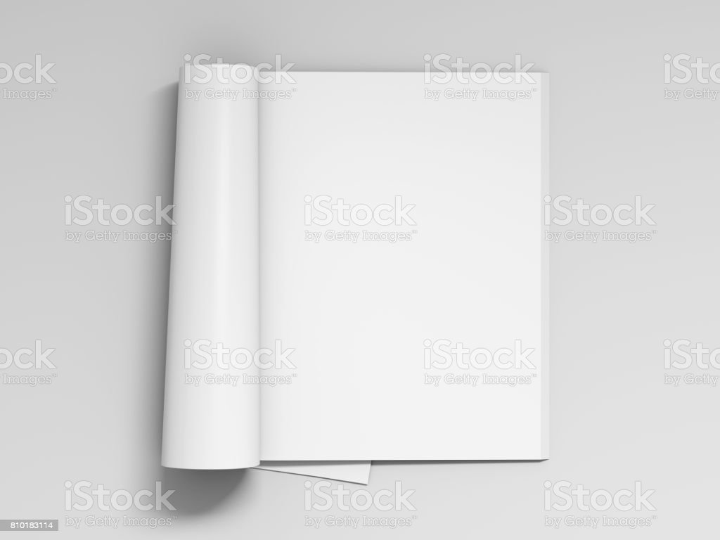 Blank white magazine pages isolated stock photo