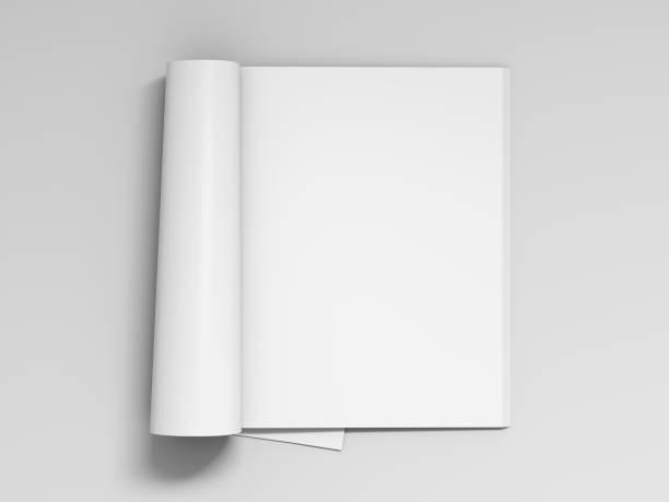 leere weiße zeitschriftenseiten isoliert - zeitschrift aufgeschlagen stock-fotos und bilder