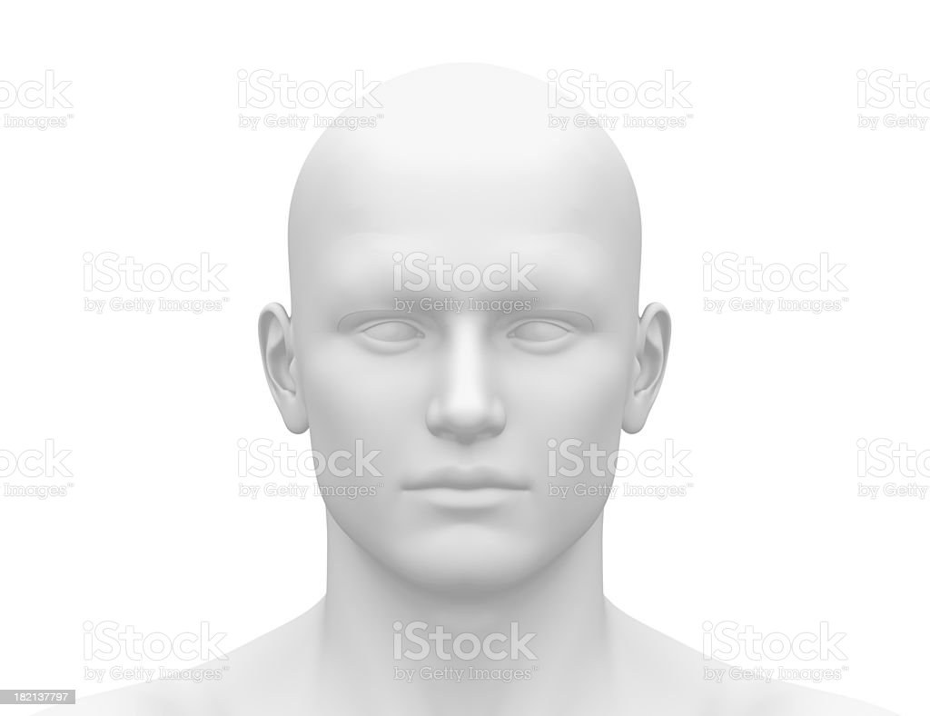 Blank White Male Head - Front view stock photo