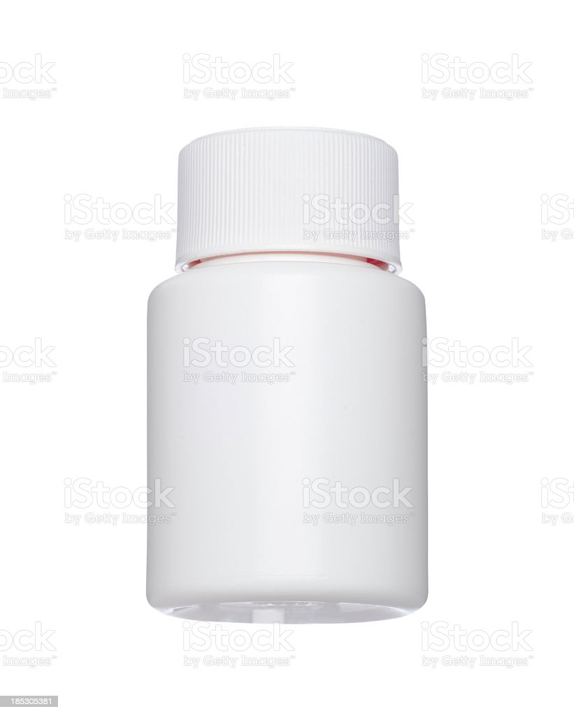 Blank white medicine bottle with a clipping path royalty-free stock photo