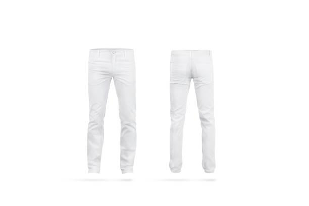 em branco branco mens calças simulado acima, isolado - calça comprida - fotografias e filmes do acervo