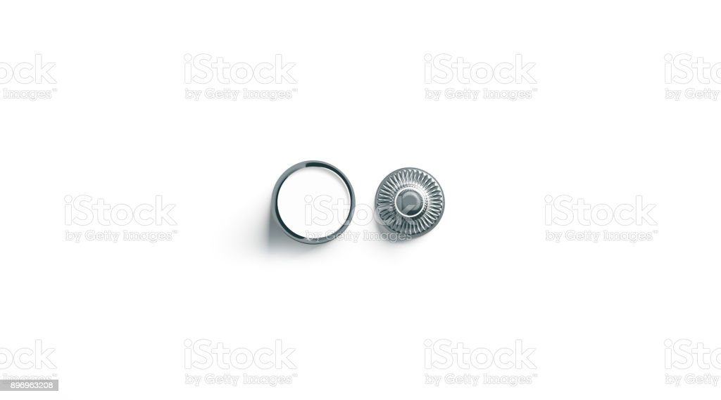 Blank white metal snap button mockup isolated stock photo